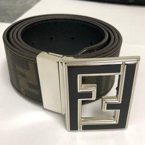 Fendi Black Brown Monogram Reversible Belt